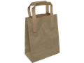 Tas, Bruin kraft , platte papieren handgreep, buitenzijde geplakt , 17.5x9,5x21cm, draagtas, bruin
