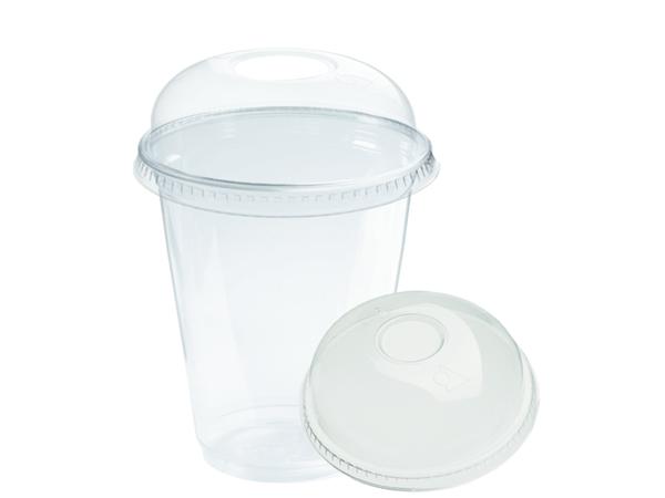 plastic beker transparant gesloten deksel 300ml